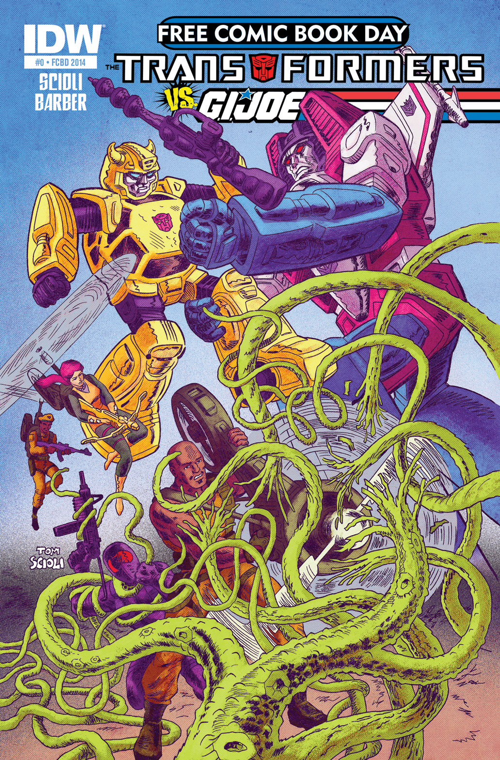 Transformers/G.I. Joe Free Comic Book Day Cover Art by Tom Scioli Colors by Josh Burcham