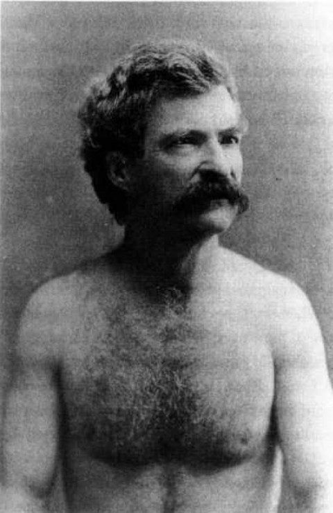 "explore-blog:  Oh hello there, Mark Twain, you shirtless hunk. Perhaps, after all, Twain wasn't talking just about the art of writing when he advised to ""employ a simple and straightforward style."""