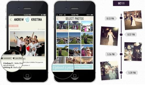 Wedding Party is a real-time guest submitted wedding album For a while, the big thing at weddings was to give everyone a disposable camera and then scrape together everyone's photos for a photo album. But it's the 21st century and it's time to use modern technology. Wedding Party is a photo app that lets your wedding guests take photos with their phones that are instantly uploaded to your digital wedding album.  Link to Wedding Party on iOS and on Android