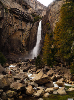 "seltaire:  Yosemite National Park, California  - Lower Yosemite Falls (more places to go and see)  I hiked the entirety of the falls a few years ago when I began university. It is nice to return in the winter. Yosemite Valley is nestled in the Sierra Nevada Mountain range. It was once the home of Pauite and Ahwahnechee people until the Gold Rush era in the 19th Century. The Ahwahnechee were considered by both the Pauite and White American settlers as 'violent,' and were given the name yohhe'meti (""they are the killers""). Eventually their village was burned and sent to Freshno on a reservation. A few returned to the Valley, but were in trouble after attacking miners, they fled to Mono Lake and stayed with the local tribe, until they were caught stealing horses. Eventually the Ahwahnechee were killed by the Mono tribe. The United States government declares their tribe 'extinct.' Who knew such a pretty place had a dark history.  Here is a good song for this dark place."