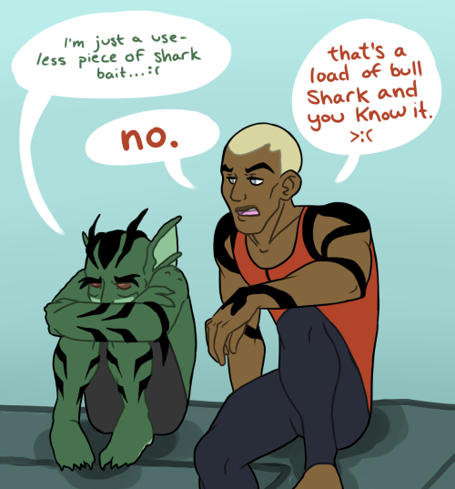 captainjerkface:  So I was going to draw a young, angsty La'gaan…but then Aquasass came in and pretty much said screw that.
