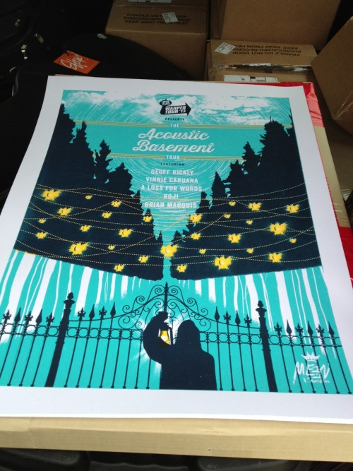 Pick up a limited edition 18x24 Acoustic Basement Tour silk screened poster print on tour. Only 160 made! Thanks to Meen Machine for making them or us! Follow them http://www.twitter.com/meenmachinenj http://www.meenmachine.com  Check out http://www.acousticbasement.com for tour dates and tickets. It runs February 1-23 so don't miss it!