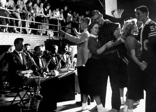 theniftyfifties:  Students dancing at a Carlsbad, California high school in 1954. Photo by Nina Leen.