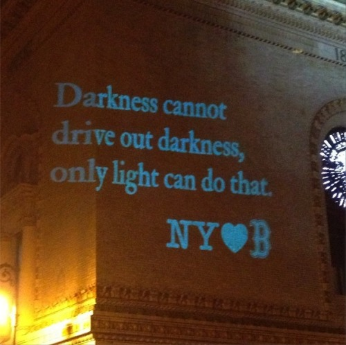 Brooklyn Academy of Music projection tonight: New York loves Boston [via Instagram (not my pic)]