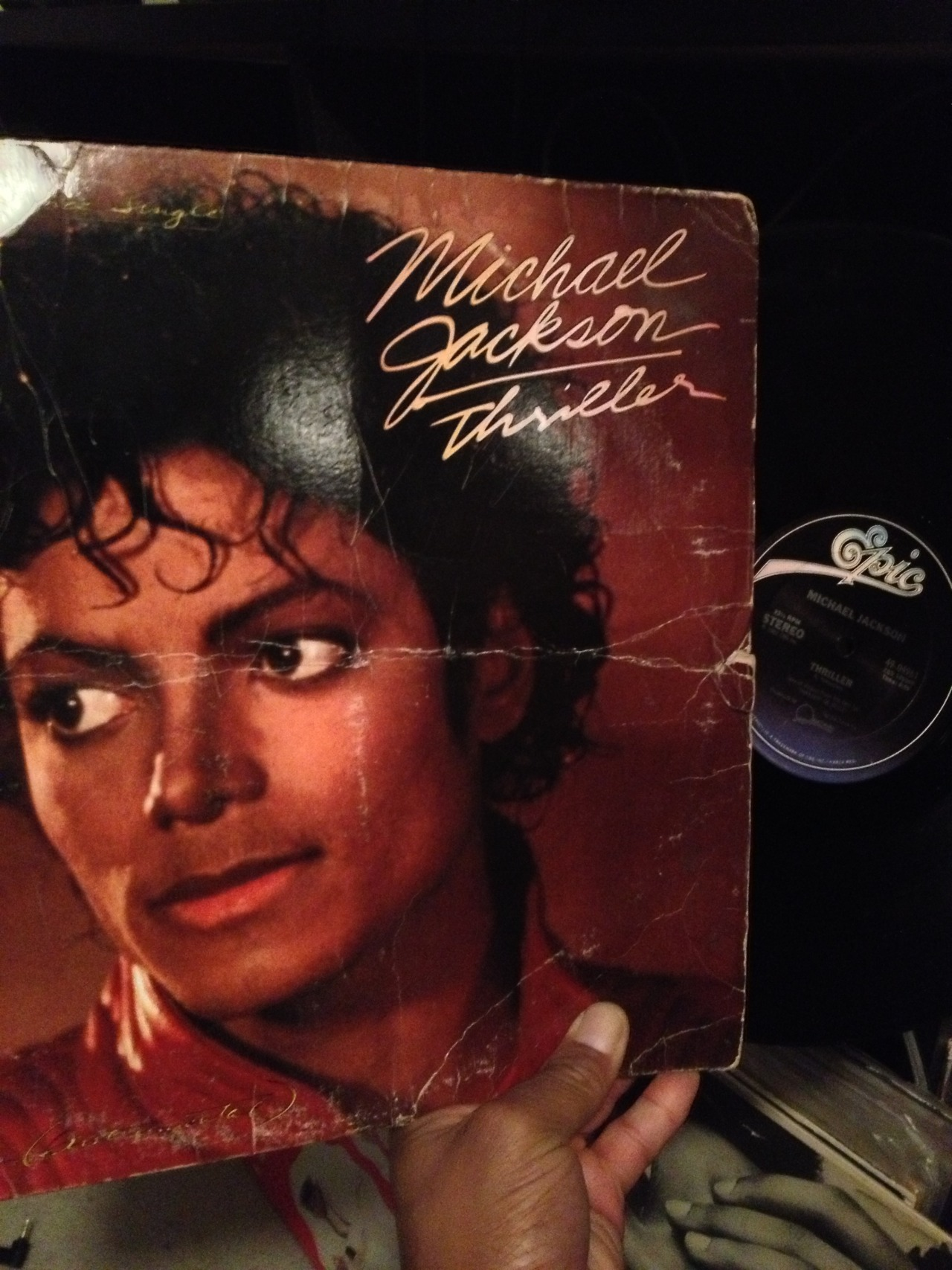 "mr12inches:  Michael Jackson!  This ablum is almost unplayable because its warped bad but I did manage to get the Instrumental recorded into Serato :-) Classic and Rare 12"" of ""Thriller"""