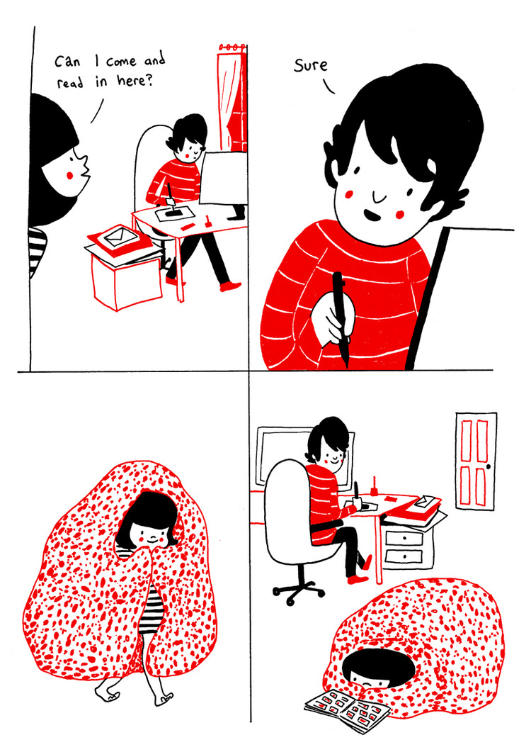 cardboardlife:  sosuperawesome:  Philippa Rice's comic Soppy can be bought here for £4 'Cuddling on the sofa' risograph prints can be bought here for £7 Follow Philippa Rice on Tumblr  !!! I've sold out of prints now. I think I'm going to do a print of one of the other ones at some point, rather than reprint the same one again.  and here we are again.