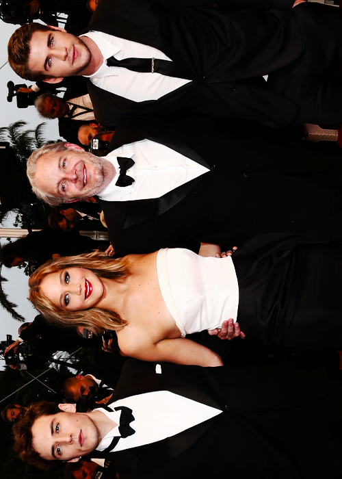 Sam, Jennifer, Liam & director Francis Lawrence - Cannes Film Festival 2013