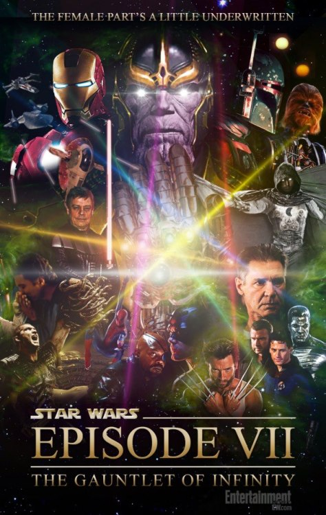 Check Out Patton Oswalt's 'Star Wars/Marvel Mash Up' Poster Yesterday, Disney confirmed its plans to release Star Wars: Episode VII in 2015, followed by a new Star Wars film every year thereafter. Coincidentally, yesterday also saw the Parks & Recreation producers release a video of guest star/geek scholar Patton Oswalt improvising about the future of the Star Wars universe. The improvisation turned into an epic eight-minute-plus pitch for a fever-dream Episode VII, a mega-crossover with the Avengers,X-Men, Fantastic Four, and Clash of the Titans that would feature a cuckolded Han Solo and a decapitated Chewbacca — who's not dead, don't worry, they're making him a spider-robot body with ion cannon shoulders, but only for the post-credits sequence. Also, Boba Fett. Also also, Moon Knight. Oswalt appears on tonight on Parks & Rec. In his honor, EW visual guru Jef Castro designed the movie poster for Oswalt's Episode VII. Link to Video