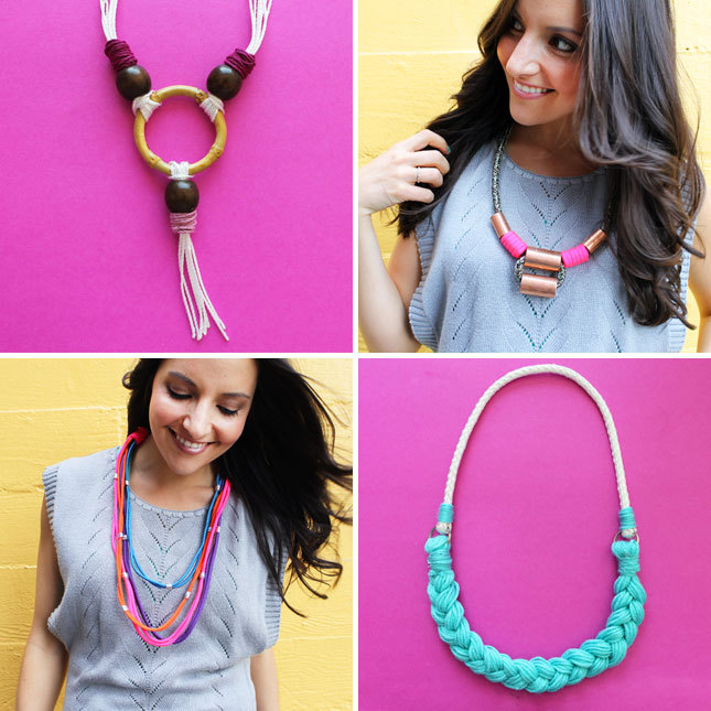 Weekend Project Alert: 4 rope statement necklaces you can make on your own. Learn how.