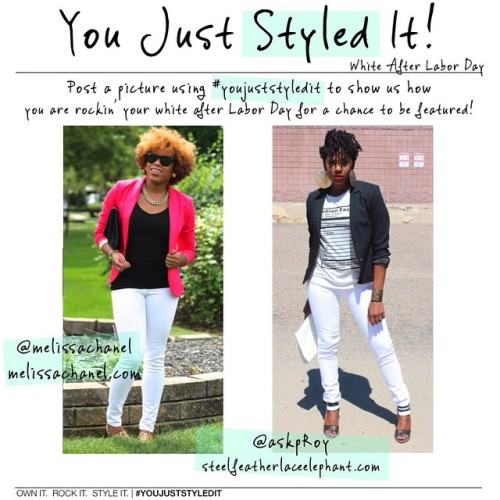 """""""You Just Styled It!"""" Thursdays!  We are styling #WhiteafterLaborDay this time around!! Let your imagination run wild and have fun with it! 💜 If you would like to showcase your personal style with the trend selected, upload a picture and tag it using the hashtag #youjuststyledit so we can check you out and feature you! The hashtag will work on all social media networks and if you want to blog about it, make sure you link back to the both of us so we can see it!  BTW: new post is live on www.steelfeatherlaceelephant.com 😉 (at steelfeatherlaceelephant.com)"""
