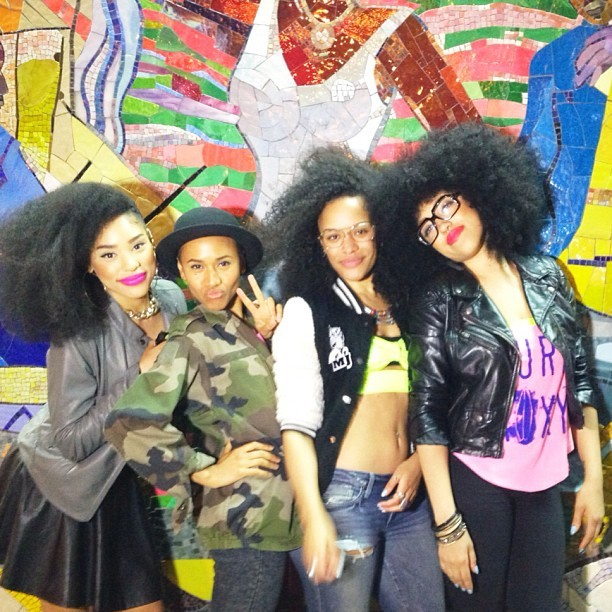 Frizzing out on the streets of Harlem with @itsmyrayeraye @mayasworld and @tarenguy Trouble!!!!