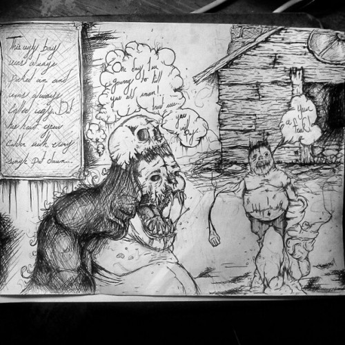 #story #drawing #pen #art #darkart #death #demon #house #deformed #devil #trippy #scary