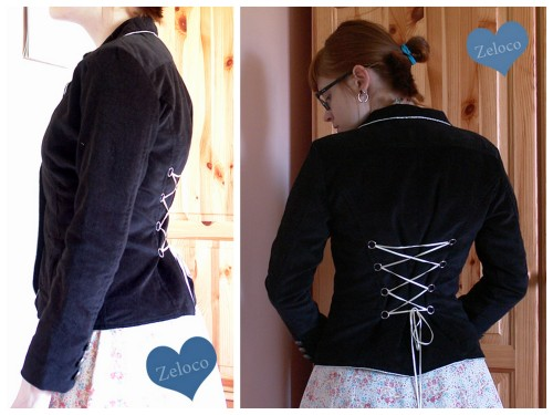 truebluemeandyou:  DIY Easy Lace Up Corset Back Tutorial from Zeloco here. This is an excellent and easier than it looks tutorial. There is a tiny bit of hand sewing.