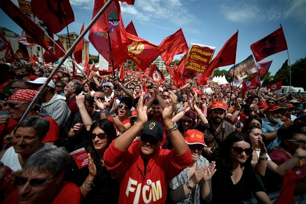 shortformblog:  breakingnews:  Thousands in Italy march in austerity protests Reuters: Thousands participated in austerity protests in Rome on Saturday. Italy is in the midst of its longest recession since 1970 and unemployment is close to record highs, with young people being hit particularly hard with a 38% jobless rate. Approval rates for the government have dropped from 43% to 34% in the last month. Photo: Demonstrators applaud during the left-wing Italian metalworkers' union FIOM rally in downtown Rome's Piazza San Giovanni on Saturday. (Filippo Monteforte/AFP - Getty Images)  The last few years have left many in the European Union dubious of not only the hardships that austerity policies often visit on countries, but also of its practical efficacy, or lack thereof. This will be a paramount issue for the incoming coalition government in Italy.