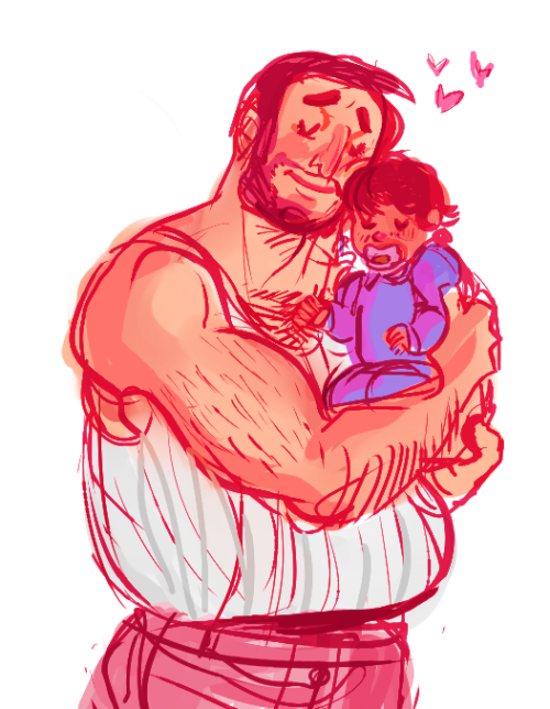 big malcolm and tiny garrett for criz! ;w;  don't pull on dad's chesthair garrett that probably hurts