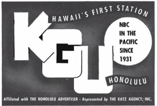 KGU became Hawaii's first commercial radio station when it signed on from Honolulu in 1922. In 1935, Captain Ed Musick and Fred Noonan used the KGU signal as a homing beacon during their survey flights of the Pacific Ocean.  Japanese invaders used the KGU signal in 1941 to lead them to Pearl Harbor.  Here's a report from KGU Radio about the Pearl Harbor attack, broadcast live over NBC on December 7, 1941:  It's hard to find much about KGU's history.  We know KGU became Hawaii's NBC affiliate in 1941.  At some point, it moved toward a middle-of-the-road format. It became a news/talk station in 1982.  The station flipped to sports in 1998.   Today, it is a Salem-owned business talk station. Sources: Wikipedia (KGU), Early Radio in Hawaii, American Radio by James H. Duncan Jr.