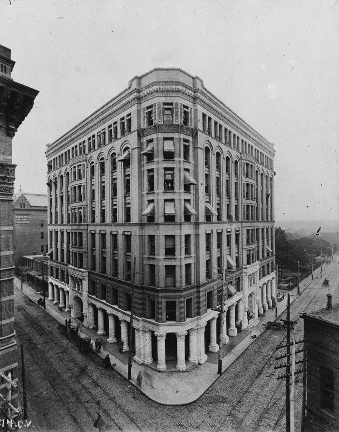 1895 view of Atlanta's Equitable Building. Located on the corner of Pryor Street and Edgewood Avenue, it was the tallest high-rise in Atlanta when it was completed in 1892. It was demolished in 1971 to make way for the Trust Company of Georgia Building Plaza.  Browse and order prints from our collection.