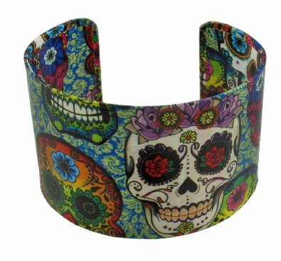 fashionwitches:  Day of the Dead Sugar Skull metal cuff bracelet