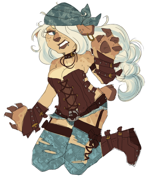 gagasweep:  this is really quick and has no anatomy but!! design trade w/lynn-chan, she's like…a biker/pirate bear yeah…(she's bros with cassie heh)