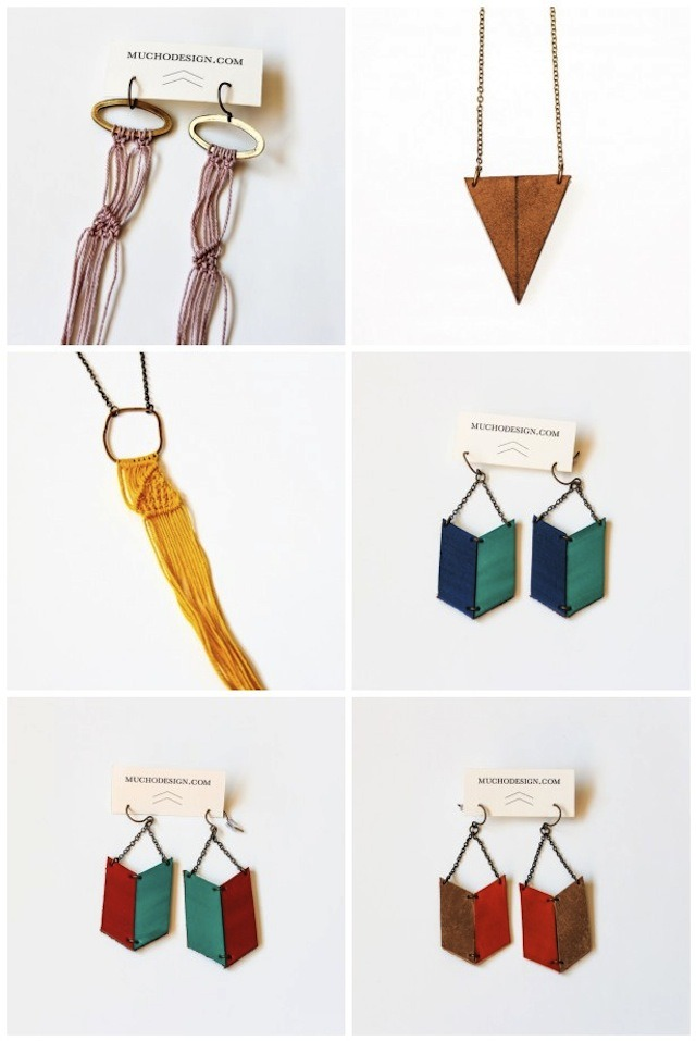handmade jewelry with thread macrame and leather