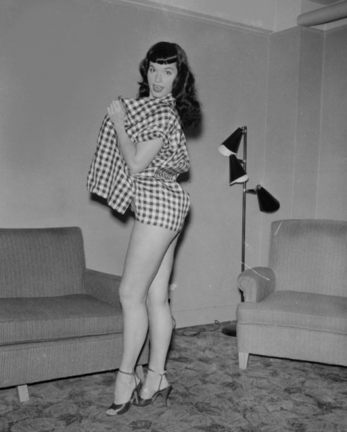 Bettie looking fabulous in gingham.