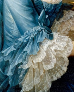 in-the-middle-of-a-daydream:   Detail from François Hubert Drouais' 1757 painting of the French actress Madame Charles Simon Favart (Marie Justine Benoîte Duronceray)