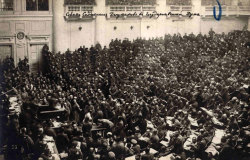 fyeah-history:  The Petrograd Soviet Assembly meeting, 1917The Petrograd Soviet of Workers' and Soldiers' Deputies was a city council of Petrograd (Saint Petersburg), the capital of the Russian Empire. For brevity it is usually called the Petrograd Soviet. During the revolutionary days the council tried to extend its jurisdiction nationwide as a rival power center to the Provisional Government creating what in the Soviet historiography is known as the Dvoevlastie (Dual power). Its committees became key components during the Russian Revolution leading up to the armed revolt of October Revolution.