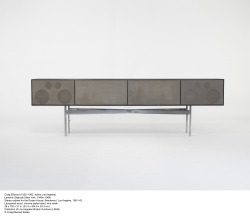 thenewdomestic:  Craig Ellwood Custom Stereo Cabinet, Laquered wood, chrome-plated steel, wire mesh.1961.