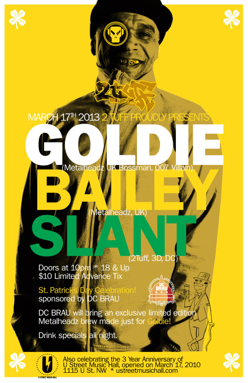Tonight in DC:  @MrGoldie @BaileyIntabeats @djslant at @UHall w/ @DCBrau - 10pm-2am - $15 @only3s