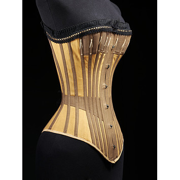 fashionrevealed:  Corset, 1890s. From the Victoria & Albert Museum.  I love the lines of this one.