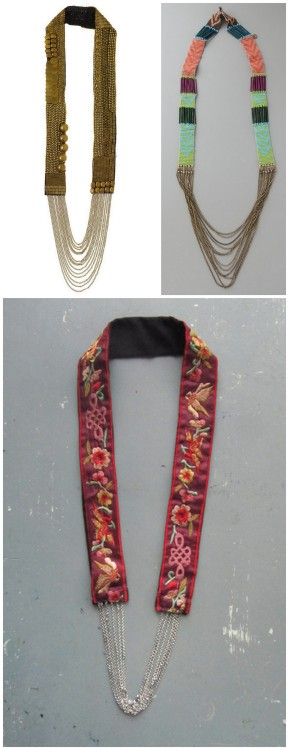 DIY Knockoff Embroidered Strap with Chains Long Necklace Tutorial from El Cuaderno de Ideas here. Really easy DIY and there is a translator on the upper left hand side. Left Photo: $250 Fiona Paxton Sylvie Necklace here, Middle Photo: $155 (sold out) Gabriella Cortese Antik Batik Jazou Necklace here. Right Photo: DIY by El Cuaderno de Ideas.