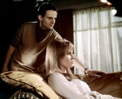 deniro-christie:  François Truffaut & Julie Christie on the set of Fahrenheit 451(1963)