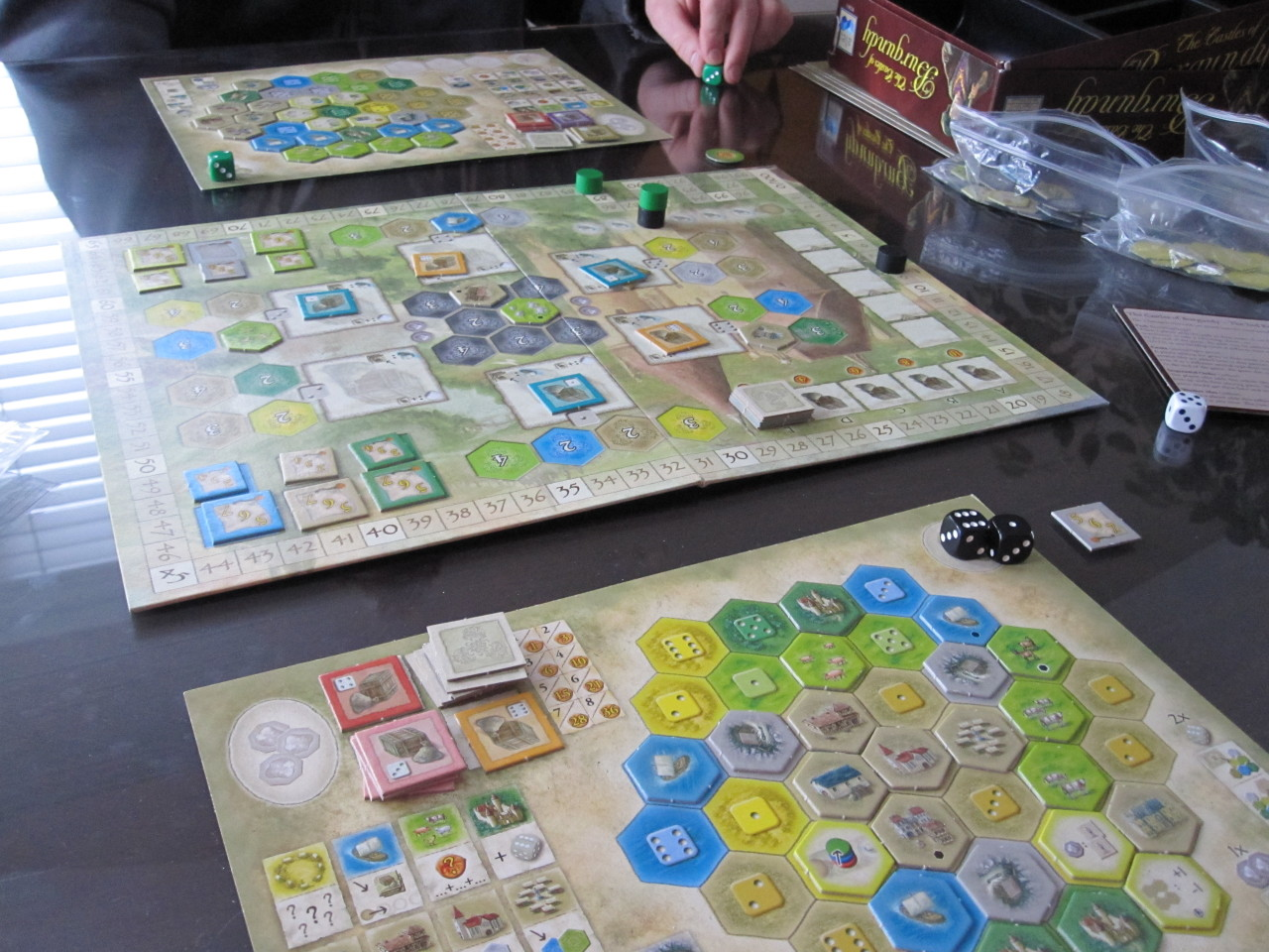 """I'm having fun"" -Jeff during our game of The Castles of Burgundy today.  Unfortunately for him, my #7 board was firing on all cylinders and I edged out the win.  He played a good game, though!"