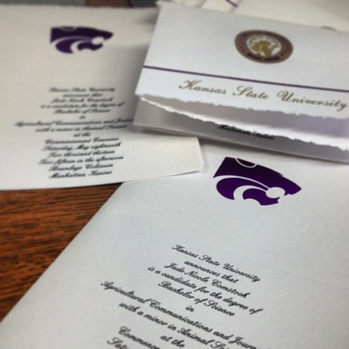 Folding invites… Guess this means graduation is really happening. #kstate