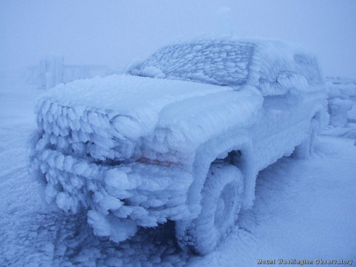 coffinschool:  Icy truck at the top of Mount Washington - Imgur