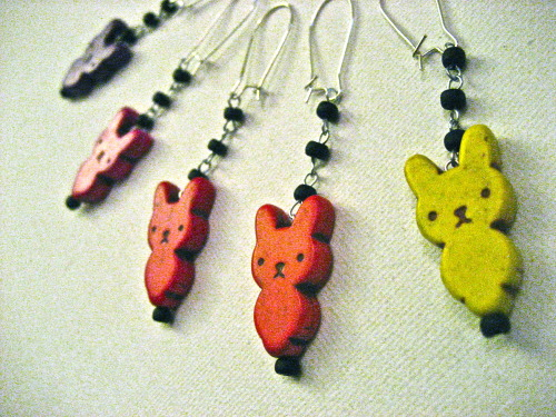 I've made, what I think might possibly be, the cutest Easter bunny earrings ever. Check them out on my etsy page — buy now and you'll get them in time for Easter!