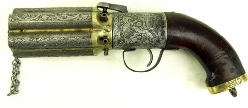 Beautiful reproduction percussion lock pepperbox revolver, sold for only $400 too.