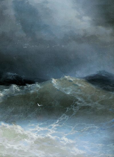 fletchingarrows:   Ivan Aivazovsky, Waves (detail), 1849  the shades of the waves make them look wonderfully translucent