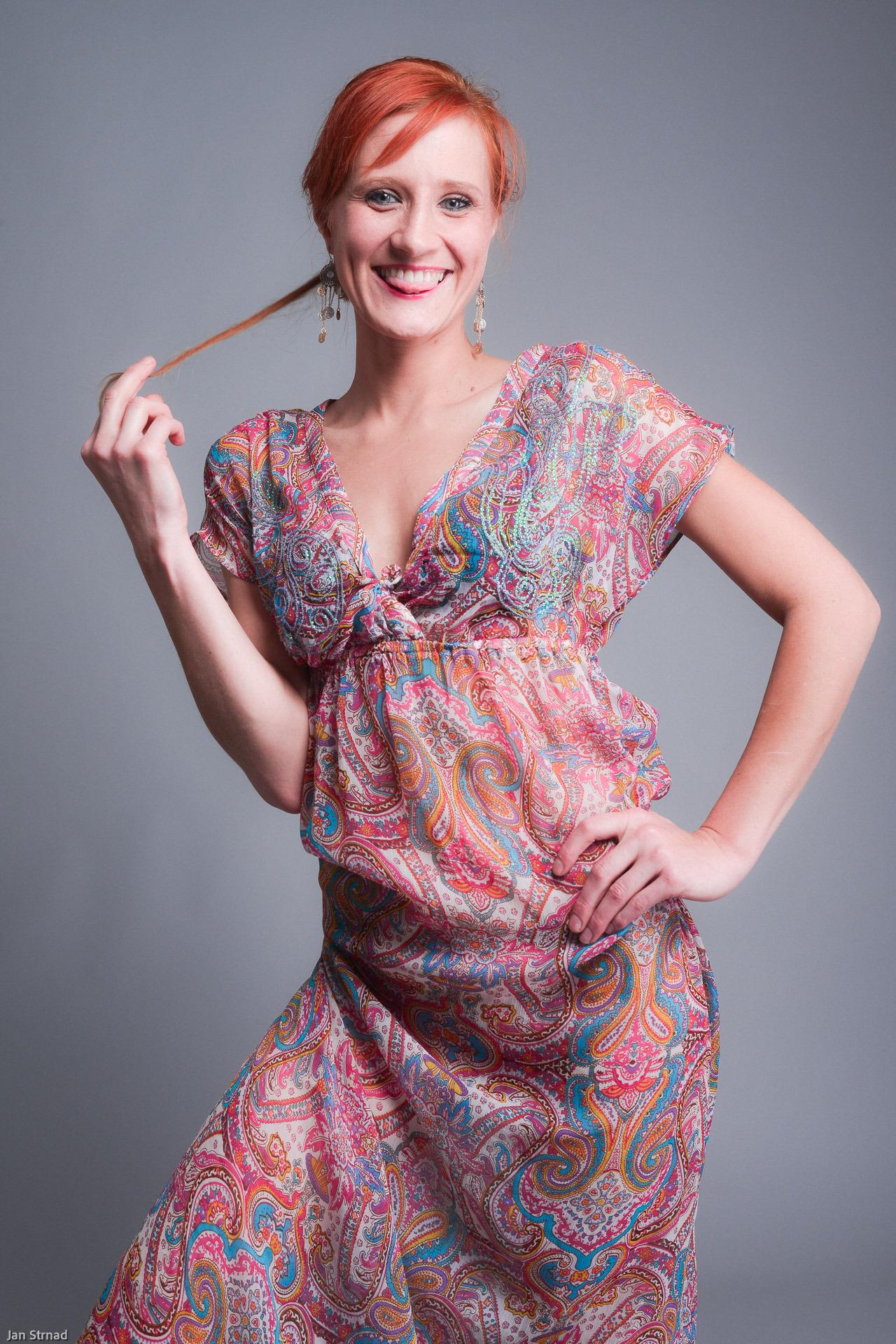 Redhead Míša in boho dress #nataka#photography#studio#fashion#bohostyle
