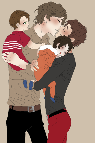 shutupandmakemeasandwichmum:  daydreamersfictions:  Larry with kidsIm not going to name the kids so I imagine kid#1 is devil, the troublemaker, being agressive and spoiled, but when his parents needs him, he´s good and help them and kid#2 is angel, but he´s really ill so he needs lots of attentionSorry if my little text under the picture makes you not reblog it.  edfdsfgdgdgfsdfsdfsdgfdsgfsdgfdgdgd