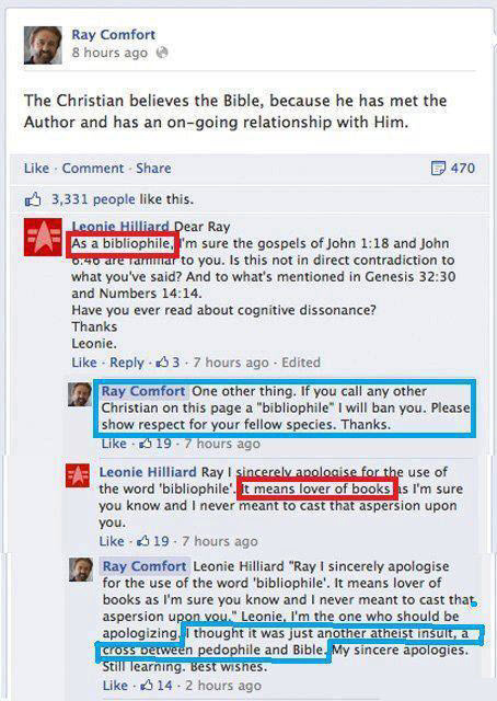hatefulatheist:  Moments like this make me doubt if Ray Comfort is smart enough to be a con man. I just went to his Facebook page and this comment thread does still exist so it appears entirely legit.  trololololol