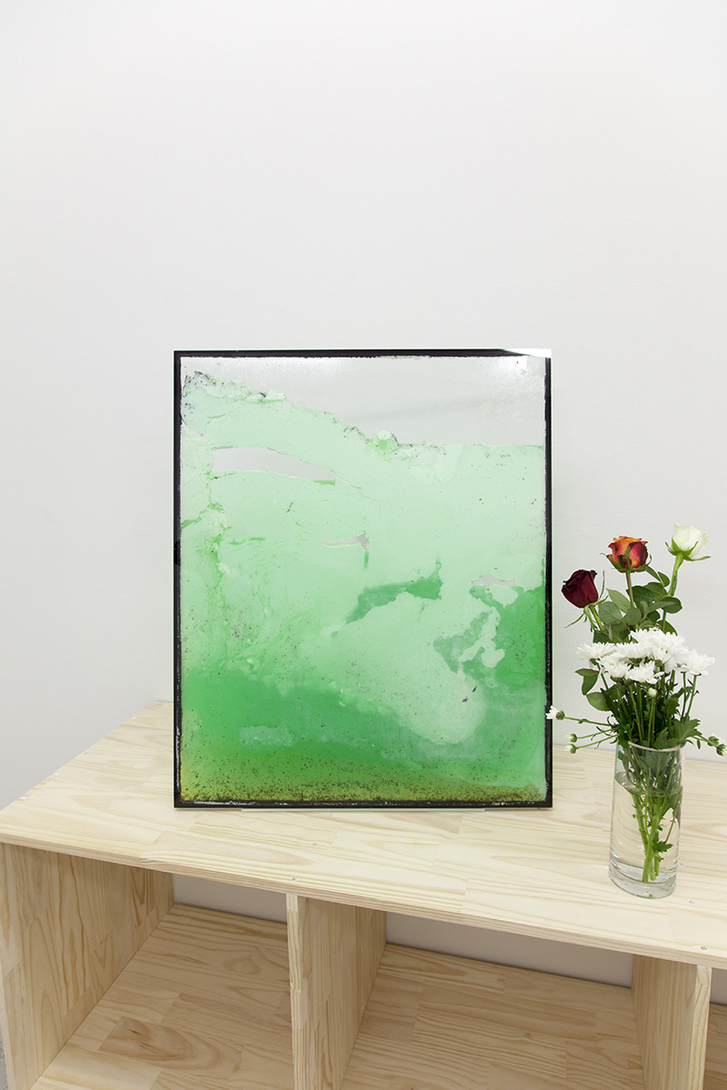 paintedetc:  Untitled 2012 Oliver Van Der Lugt — Screenery: Double glazed window unit, organic coconut oil, Woolworths Select Thick Mint Sauce, Fountain Thick Mint Sauce, Dettol Healthy Touch Refresh hand wash, Original Source XXX Extra Strong Black Mint shower gel, Radox Muscle Soothe Juniper Herbal bath soak, marine grade silicone sealant.