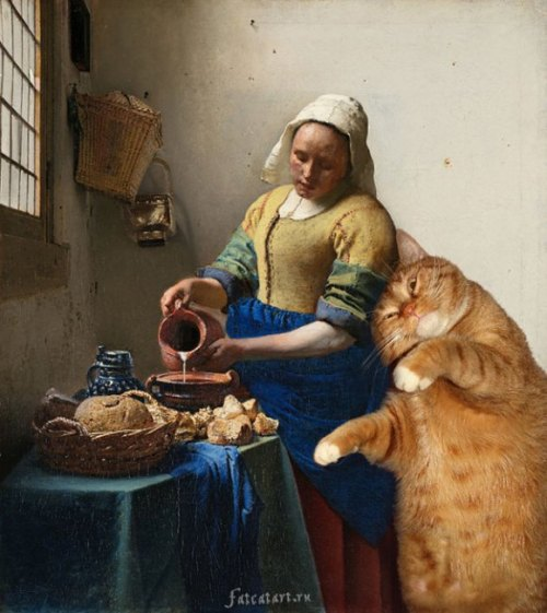 archiemcphee:  Russian artist Svetlana Petrova has an awesome marmalade cat named Zarathustra whom she photoshops into famous works of art. No matter the renown of the artist or beauty of the subject matter, Zarathustra's ample tabby frame immediately becomes the hilarious center of attention. He melts alongside Dalí's clocks, cuddles up to Vermeer's milkmaid, da Vinci's Lady with an Ermine and Mona Lisa, and even Whistler's Mother. We particularly love his use of modesty tail whilst lounging in Edouard Manet's Olympia and the tip of the tail positioned in place of Adam's hand in Michelangelo's The Creation of Adam. Petrova is currently exhibiting artwork at The Barn at Stonehill House, in Abingdon, Oxfordshire in a show entitled Russian Extremes – From Icons to I-Cats. The show runs through June 5, 2014. Follow the ongoing high art hijinks of Zarathustra at Svetlana Petrova's website, Fat Cat Art. [via RocketNews24]