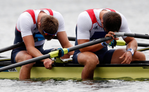 Bill Lucas and Sam Townsend of Great Britain react after finishing outside of the medal positions in the Men's Double Sculls final on Day 6 at Eton Dorney, Aug. 2, 2012 in Windsor, England. (Jamie Squire/Getty Images) #