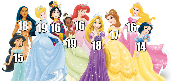 THESE ARE THE AGES OF THE DISNEY PRINCESSES AND YOUR LIFE IS A LIE  I am as old/older than half of these and I still have yet to obtain a boyfriend