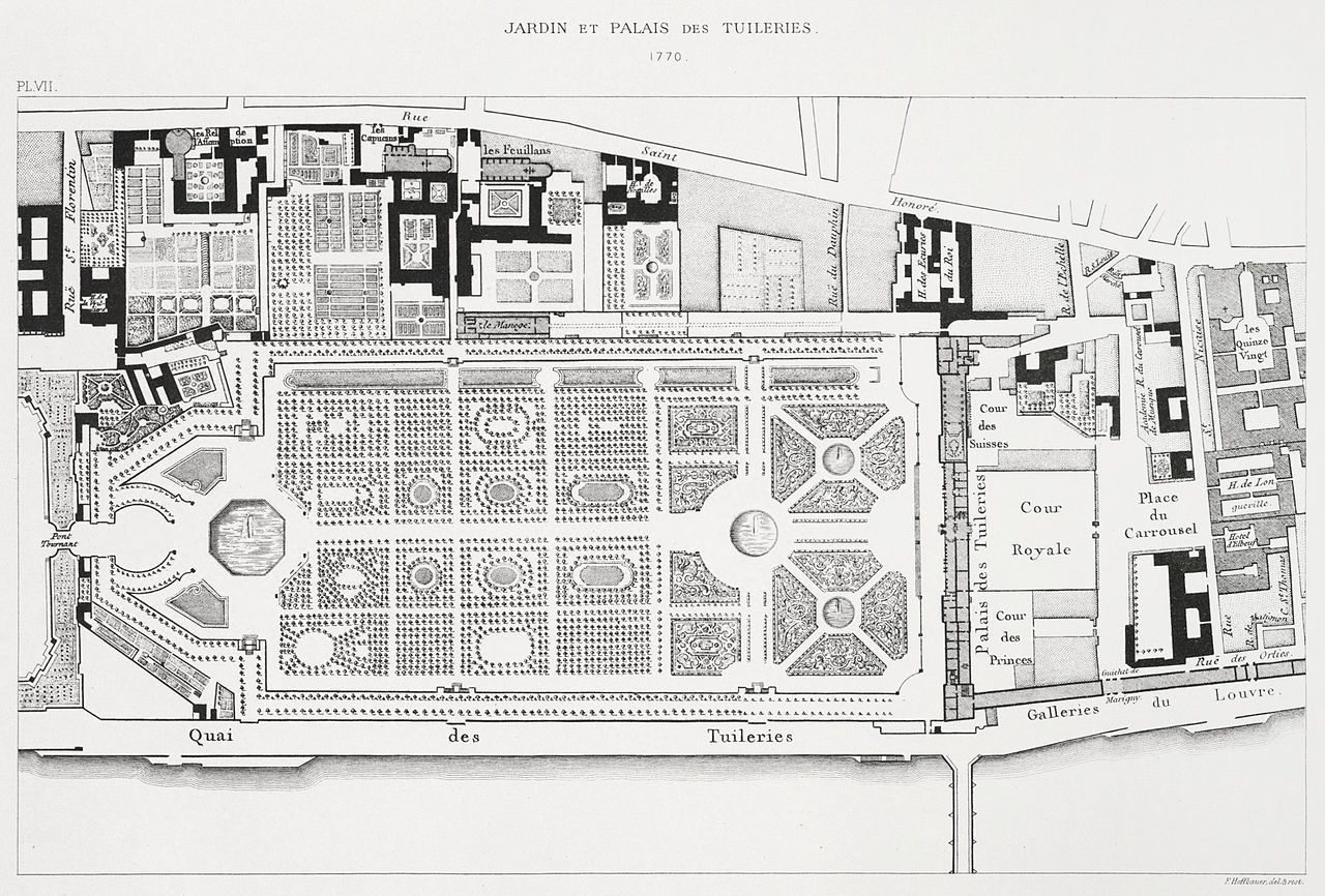The Jardin des Tuileries and its surroundings in 1770, Paris