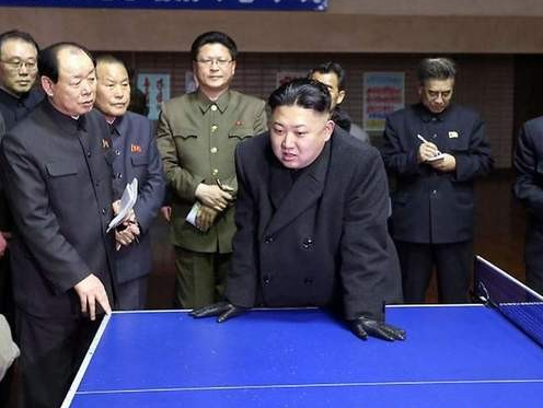 kimjungunlookingatthings:  kim jung un looking at over a ping pong table
