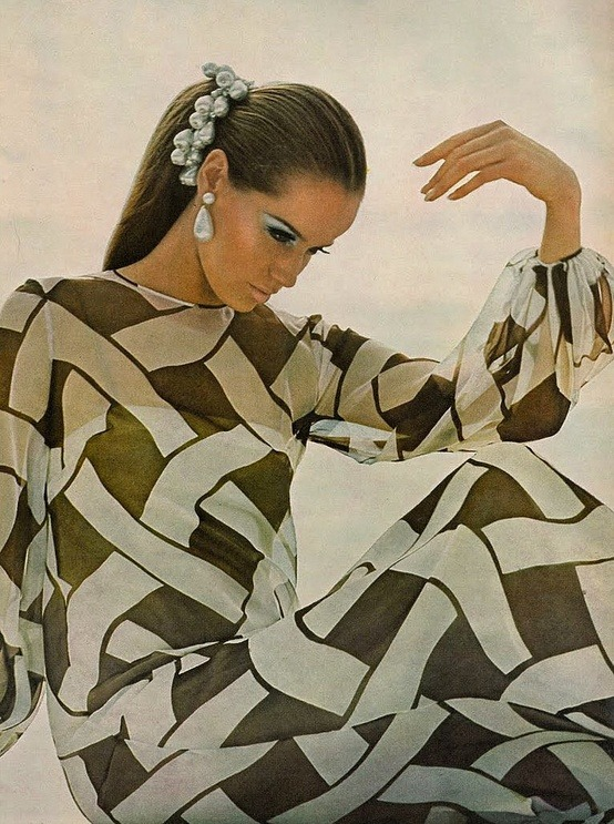 theswinginsixties:  Veruschka wearing chiffon over a slip of silk crepe by Chuck Howard of Townley, Vogue US 1966. Photo by Bert Stern.