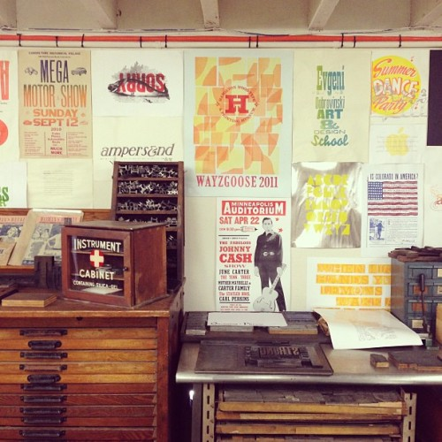 thefishinthesea:  Endless inspiration at 'The Bacon Factory' @strongarmpress #letterpress #woodtype #design #inspo