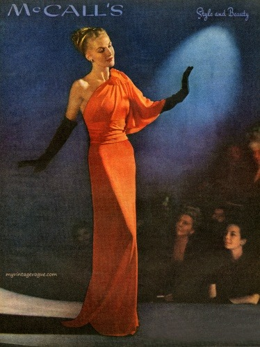 modcloth:  Orange glamour, 1940s-style. Why don't models still pose like this?